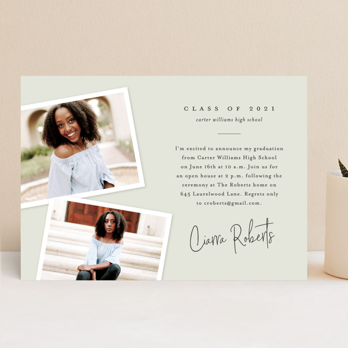 """Personal invite"" - Modern, Preppy Graduation Announcements in Tan by Stacey Meacham."