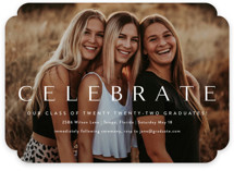 This is a white graduation announcement invitation by Kasia Labocki called Celebration with standard printing on signature in standard.