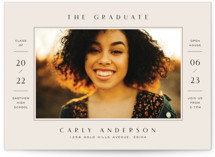 This is a beige graduation announcement invitation by Michelle Taylor called Details with standard printing on signature in standard.