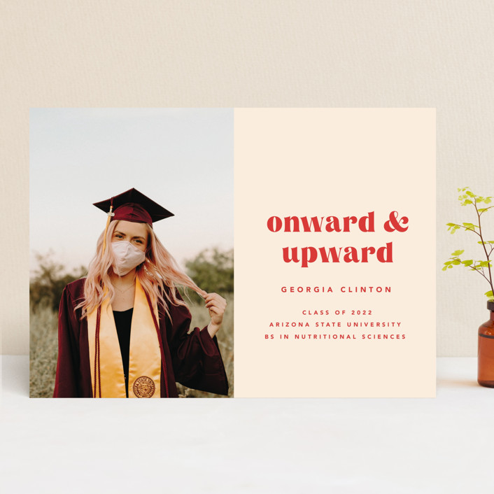 """Onward & Upward"" - Graduation Announcements in Peach by Anna Elder."