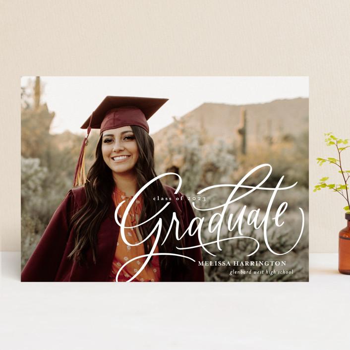 """Script Grad"" - Graduation Announcements in Cloud by Erin German."