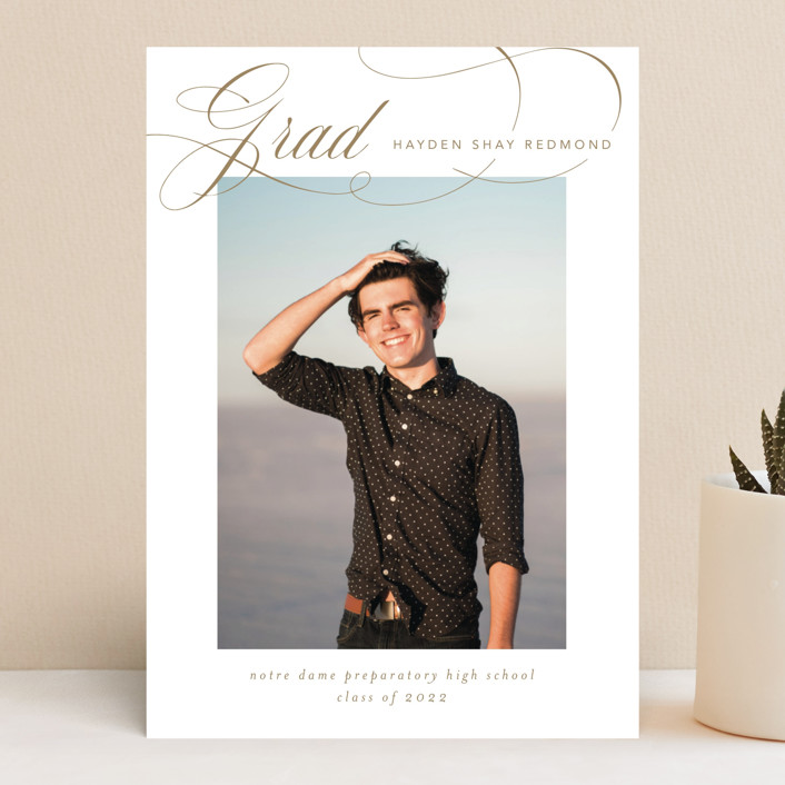 """Flourishing"" - Graduation Announcements in Gilded Gold by Jennifer Postorino."