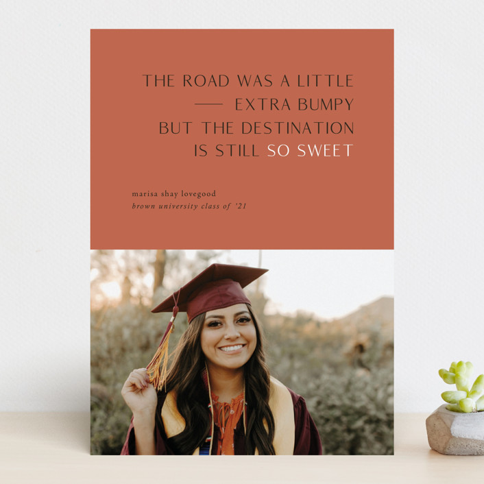 """Destination"" - Graduation Announcements in Faded Rust by Up Up Creative."