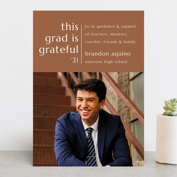 """""""Grateful Grad"""" - Graduation Announcements in Caramel by Griffinbell Paper Co.."""