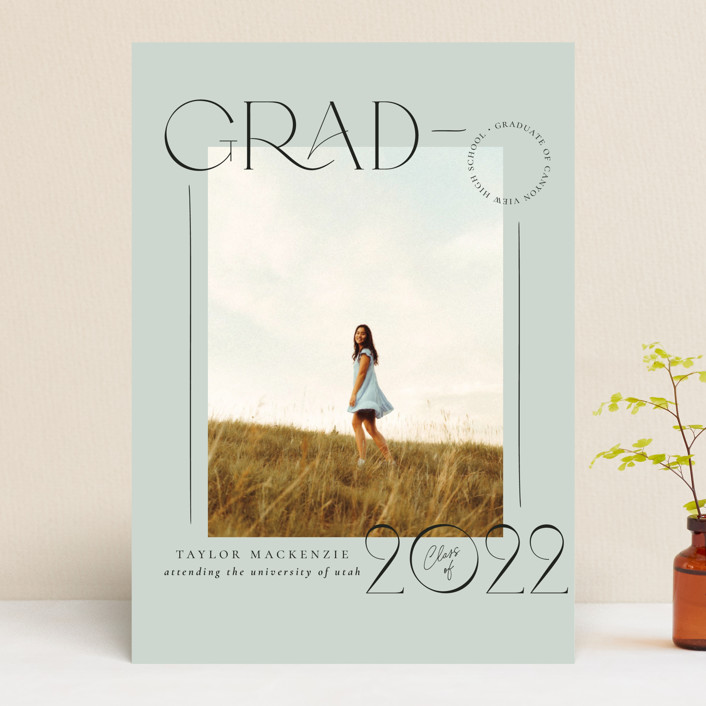 """Mod Grad"" - Graduation Announcements in Mint by Wildfield Paper Co."