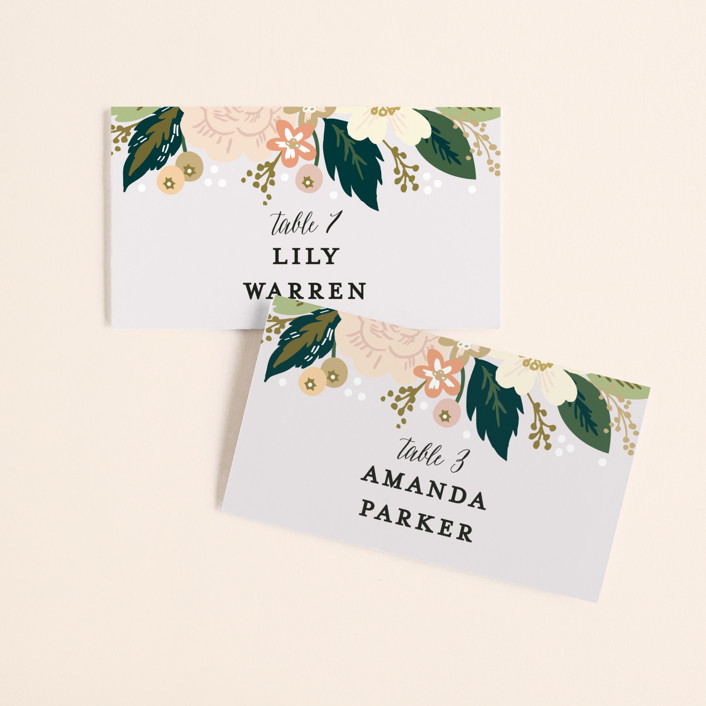 """Classic Floral"" - Wedding Place Cards in Spring Blush by Alethea and Ruth."