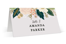This is a colorful wedding place card by Alethea and Ruth called Classic Floral with standard printing on signature in placecard.