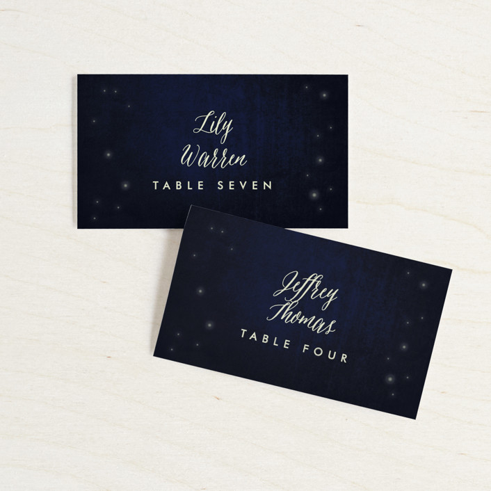 """Outside"" - Rustic Wedding Place Cards in Navy by Rebecca Bowen."