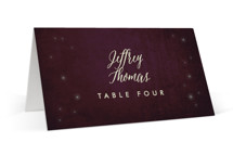 This is a purple wedding place card by Rebecca Bowen called Outside with standard printing on signature in placecard.