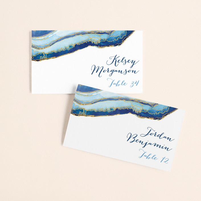 """""""Gilt Agate"""" - Bohemian, Rustic Wedding Place Cards in Navy by Kaydi Bishop."""