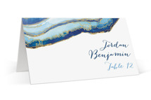 This is a blue wedding place card by Kaydi Bishop called Gilt Agate with standard printing on signature in placecard.