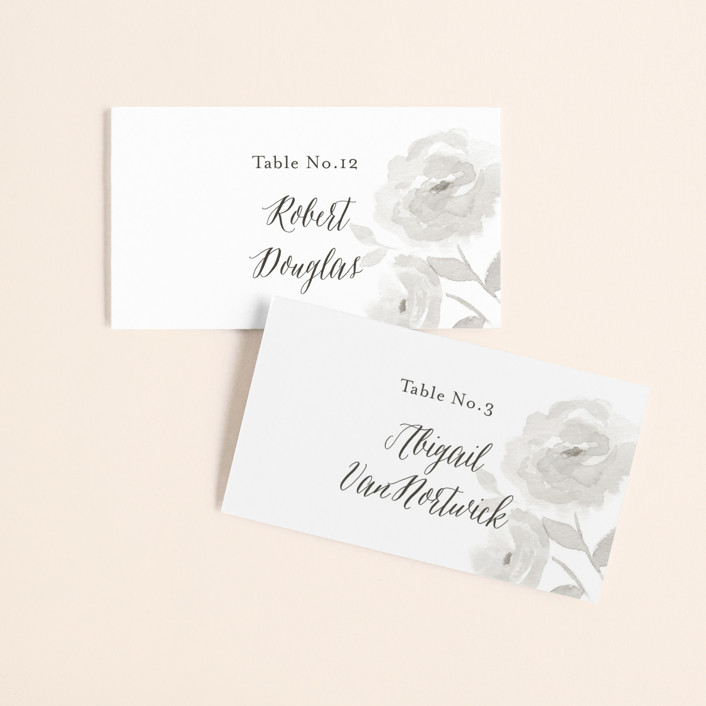 """""""Watercolor Floral"""" - Wedding Place Cards in Fog by Jill Means."""