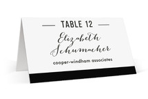 This is a black and white wedding place card by Jessica Williams called Black Tie with standard printing on signature in placecard.