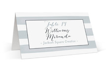This is a blue wedding place card by Shari Margolin called Brushstroke with standard printing on signature in placecard.
