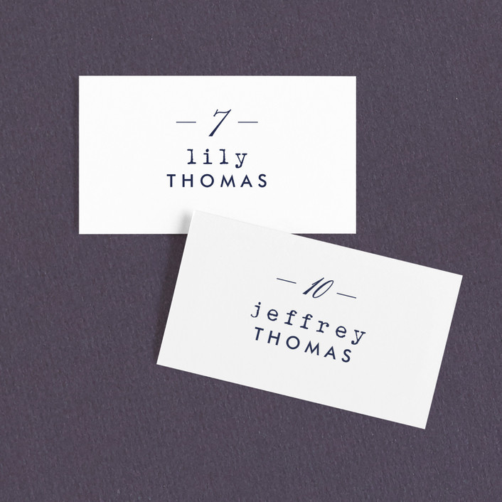 """""""Café"""" - Simple Wedding Place Cards in Navy by Susan Brown."""