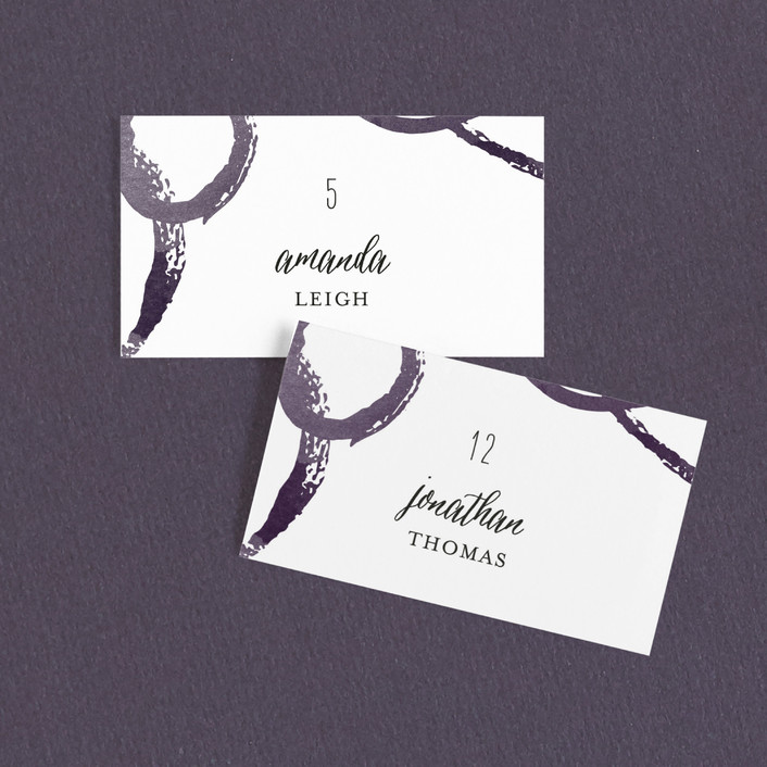 """""""Circles"""" - Winery Wedding Place Cards in Indigo by Lori Wemple."""