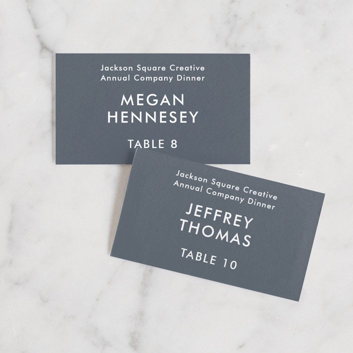 """""""Contemporary"""" - Simple Wedding Place Cards in Steel by Sandra Picco Design."""