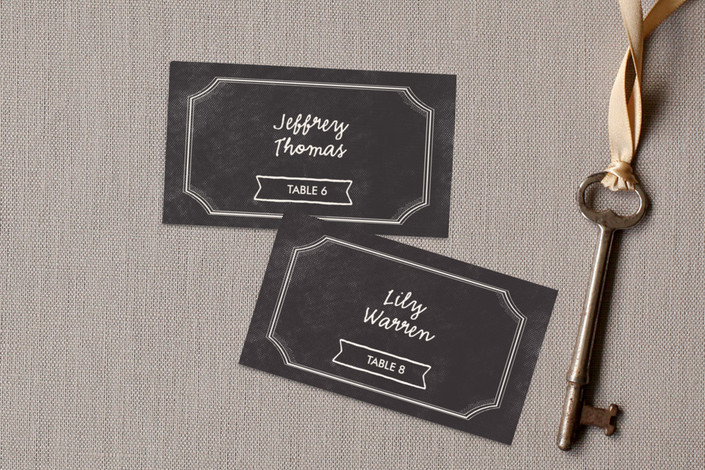 """""""Merlot"""" - Wedding Place Cards in Charcoal by chocomocacino."""