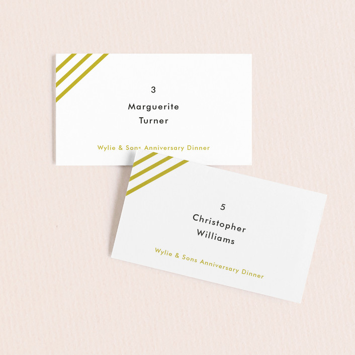 """""""Diagonal Stripes"""" - Simple Wedding Place Cards in Tuxedo by Dozi."""