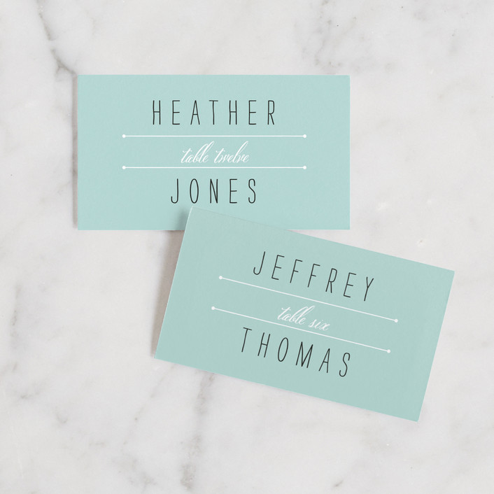 """""""Deco Border"""" - Vintage Wedding Place Cards in Sea Glass by Up Up Creative."""