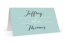 This is a blue wedding place card by Up Up Creative called Deco Border with standard printing on signature in placecard.
