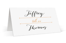 This is a orange wedding place card by Up Up Creative called Deco Border with standard printing on signature in placecard.