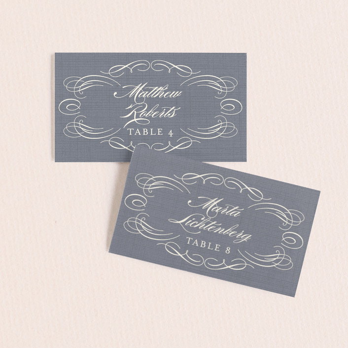 """""""Flourish"""" - Monogrammed, Formal Wedding Place Cards in Slate by Hooray Creative."""