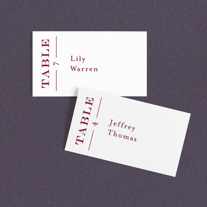 """""""Into The Orchard"""" - Bold typographic Wedding Place Cards in Ruby by Alaina Cherup."""
