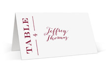This is a red wedding place card by Alaina Cherup called Into The Orchard with standard printing on signature in placecard.