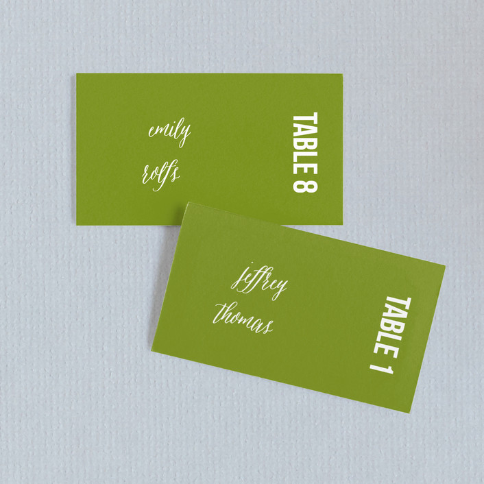 """""""Modern Harvest"""" - Wedding Place Cards in Olive by Cheer Up Press."""