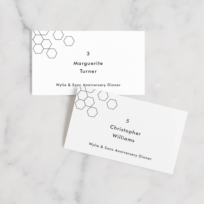 """""""Modern Hex"""" - Modern Wedding Place Cards in Ink by Dozi."""