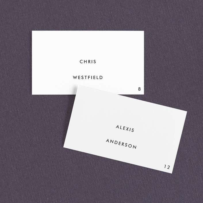 """On An Angel"" - Simple, Classical Wedding Place Cards in Obsidian by Bourne Paper Co.."