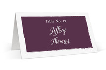 This is a purple wedding place card by Paper Dahlia called Painted Border with standard printing on signature in placecard.