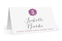 This is a purple wedding place card by Kelly Nasuta called Plum with standard printing on signature in placecard.