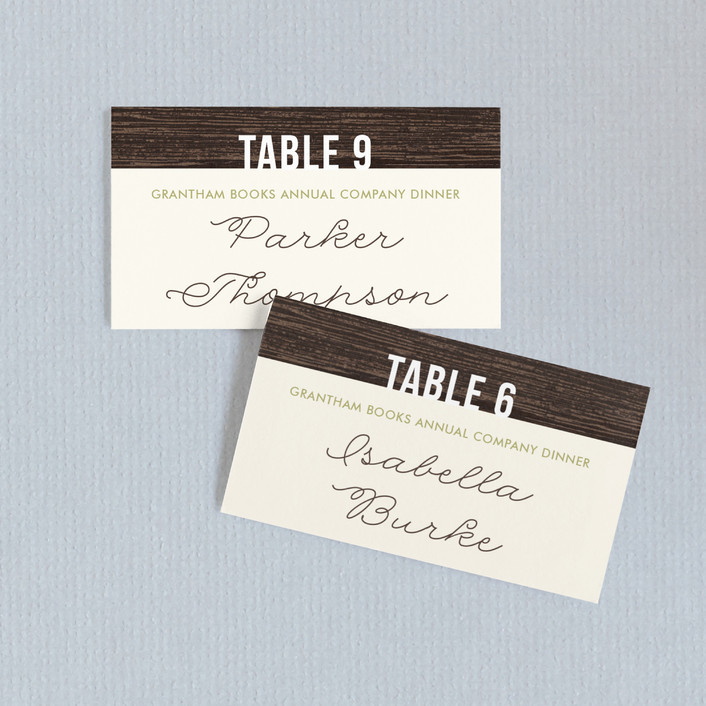 """Rustic"" - Bold typographic, Rustic Wedding Place Cards in Sage by Kelly Nasuta."
