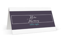 This is a purple wedding place card by Up Up Creative called Sash with standard printing on signature in placecard.
