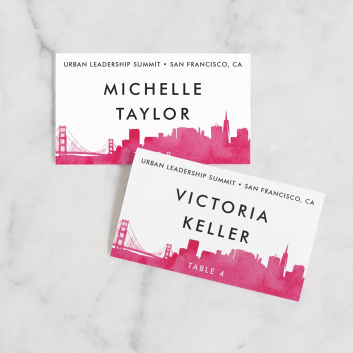 """Skyline-San Francisco"" - Hand Drawn Wedding Place Cards in Fuchsia by Laura Condouris."
