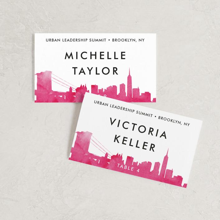 """Skyline -New York"" - Modern Wedding Place Cards in Fuchsia by Laura Condouris."