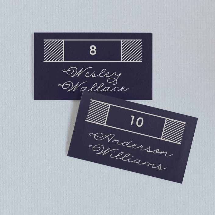 """Statement"" - Bold typographic, Modern Wedding Place Cards in Navy by Olivia Raufman."