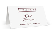This is a purple wedding place card by Stacey Meacham called The Standard with standard printing on signature in placecard.