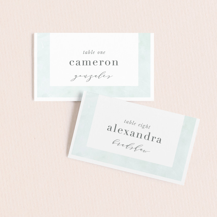 """Caliza"" - Wedding Place Cards in Seafoam by Lauren Chism."