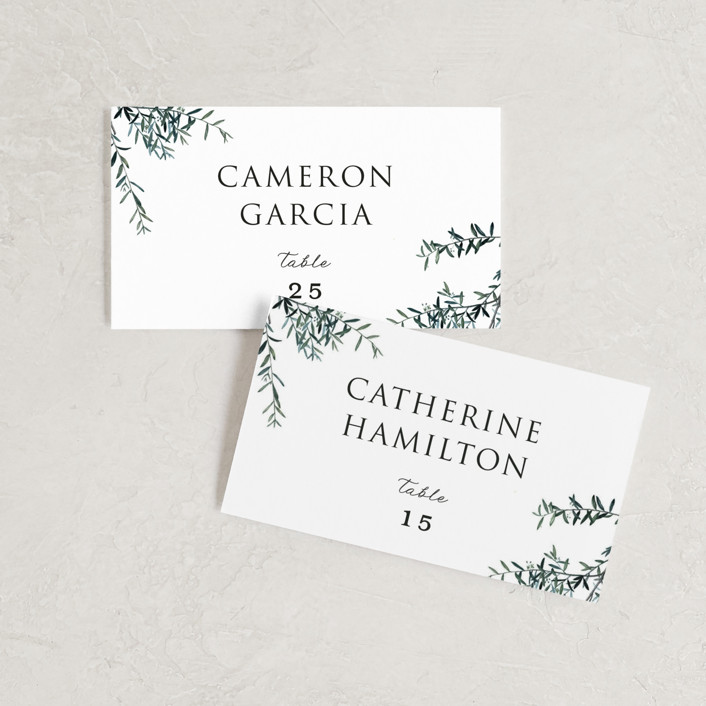 """Fresh Sage"" - Wedding Place Cards in Olive by Christie Kelly."