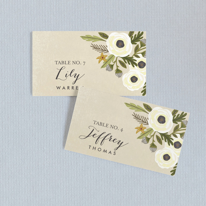 """Boheme"" - Rustic, Floral & Botanical Wedding Place Cards in Marigold by Griffinbell Paper Co.."
