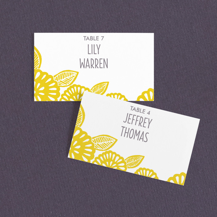 """Bold Block Print"" - Wedding Place Cards in Mustard by Katharine Watson."