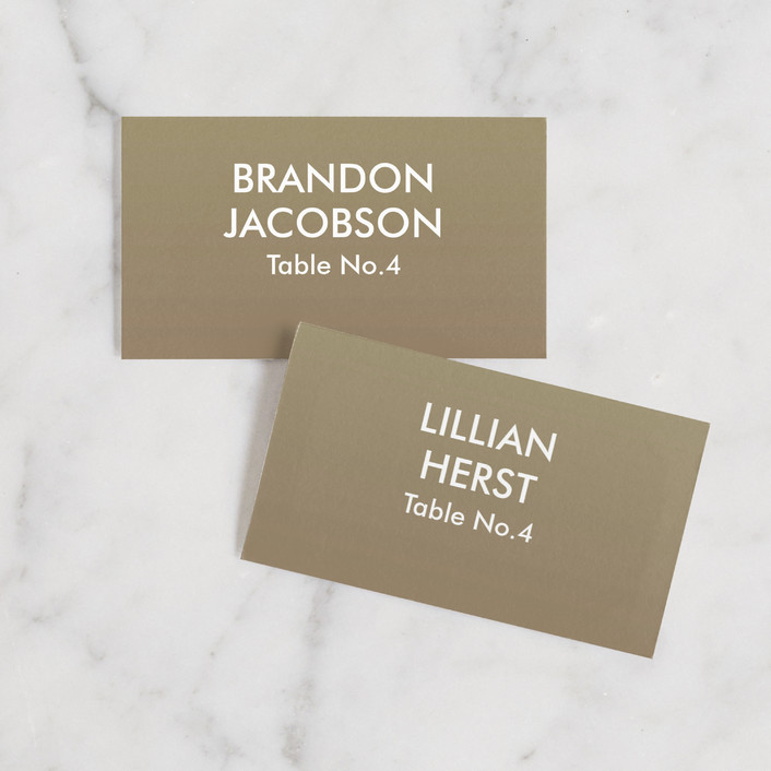 """""""Charge Ahead"""" - Modern Wedding Place Cards in Antiqued White by Rouge Bicyclette."""