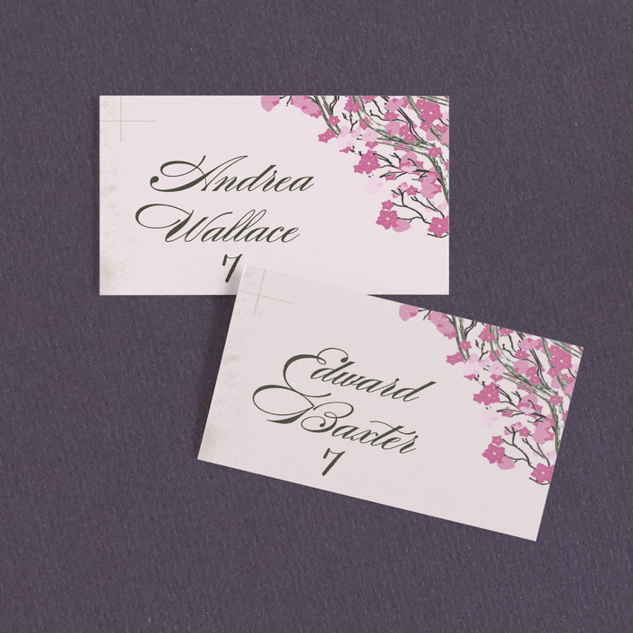 """""""Cherry Blossom"""" - Rustic Wedding Place Cards in Sweet Cherry by Jenifer Martino."""