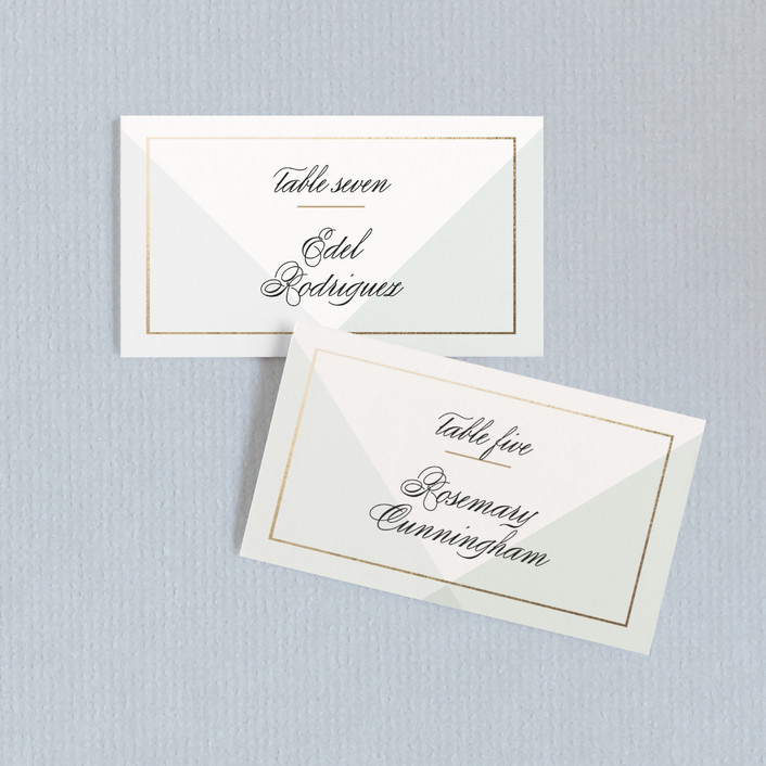 """""""Creme Brulee"""" - Modern Wedding Place Cards in Mint by chocomocacino."""