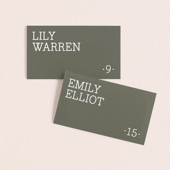 """Established"" - Wedding Place Cards in Pewter by Alston Wise."