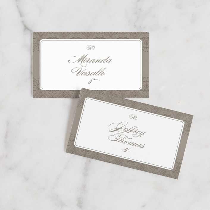 """Formalities"" - Vintage Wedding Place Cards in Warm Grey by Milkmaid Press."