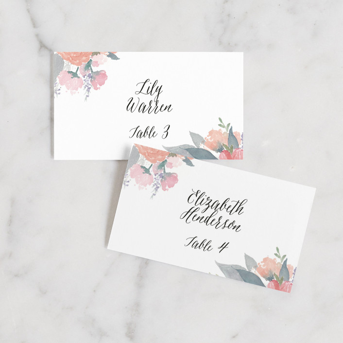 """fresh watercolor floral"" - Wedding Place Cards in Peach by Qing Ji."